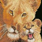 Free cross stitch pattern lioness and cub