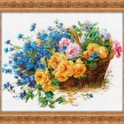 Cross stitch pattern Roses and Cornflowers