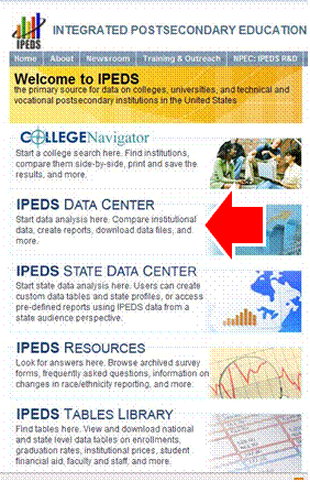Ipeds Homepage Screenshot