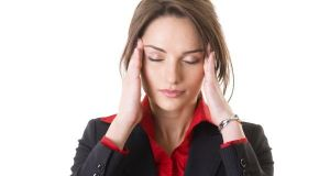 headache, pain, stressed young businesswoman, isolated