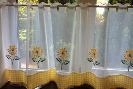 sunflower curtains for kitchen