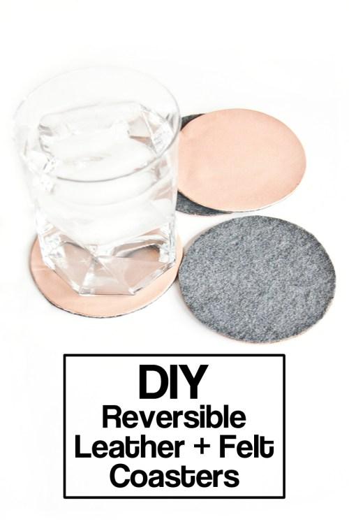 Make reversible leather and felt coasters #DIY #GiftIdea