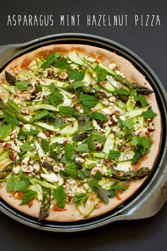 asparagus mint hazelnut pizza
