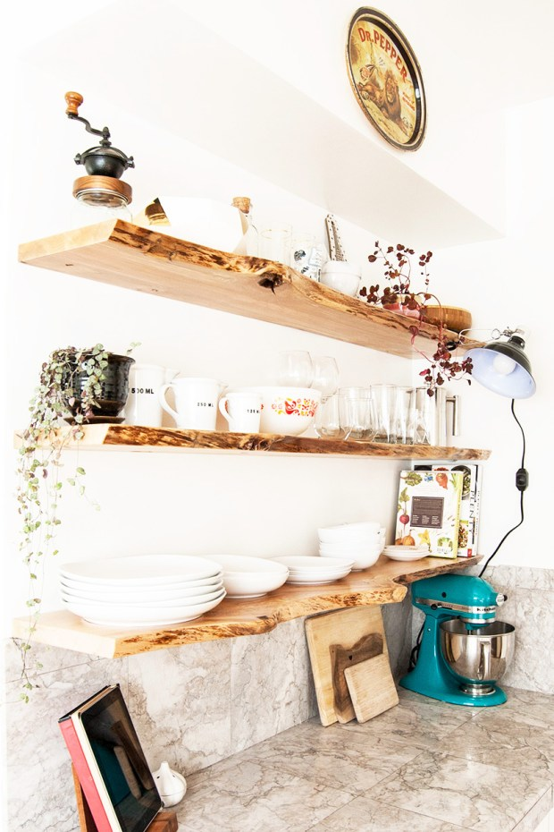 Kitchen Makeover Featuring Floating, Live Edge Wood Shelves