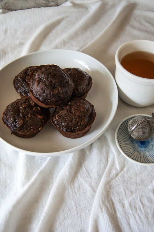 Got too much zucchini? These double-chocolate zucchini muffins are a delicious way to use it up
