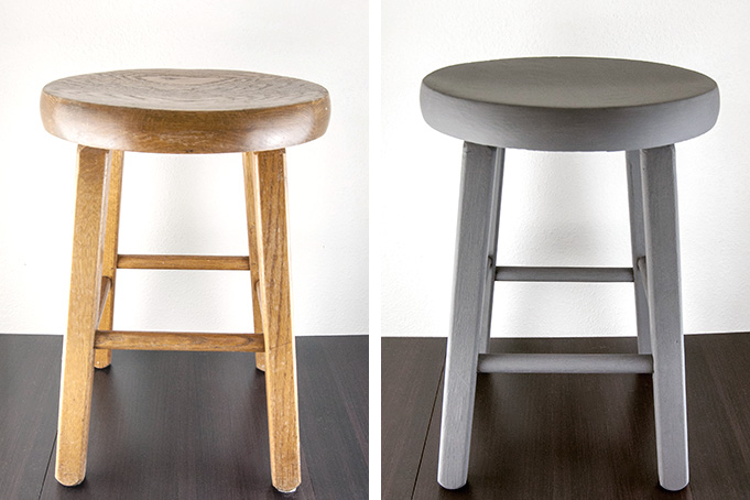 DIY chalk paint stool makeover
