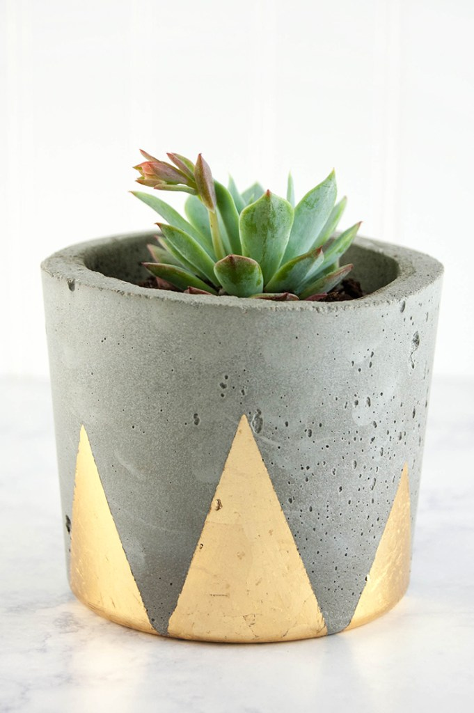 Concrete and Gold DIY Plant Pots