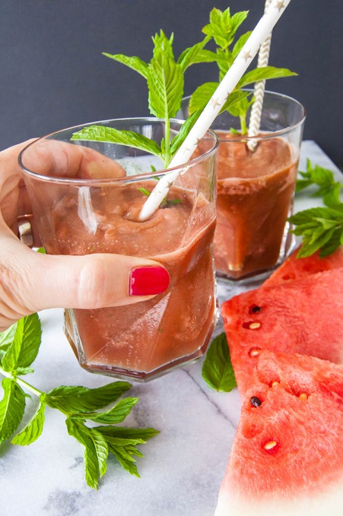 Cool off with these refreshing watermelon mint sake slushies (or leave out the sake if you don't drink)