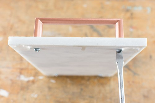 DIY copper and marble handle tray