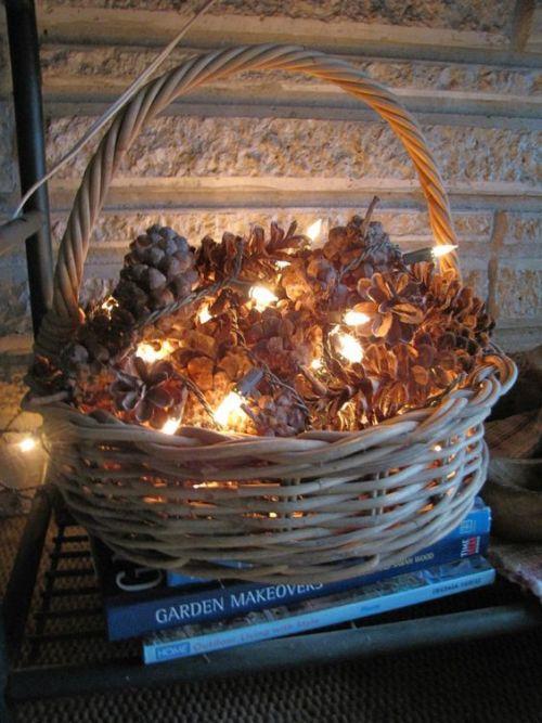 Simple DIY holiday decor ideas using white lights: pinecones + basket + lights