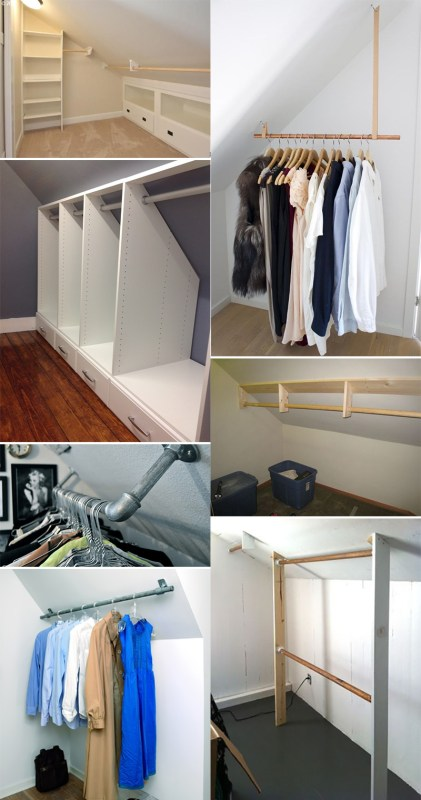 Ideas for dealing with a closet with slanted or sloped walls.