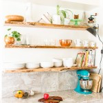Kitchen floating live-edge open shelves