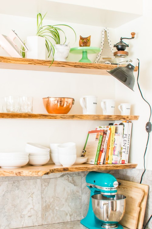 Floating live-edge kitchen open shelves