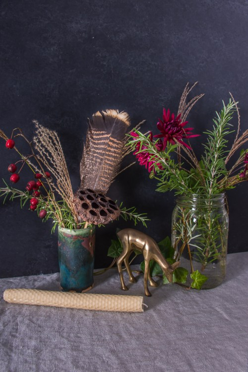 Foraged Thanksgiving tablescape flowers