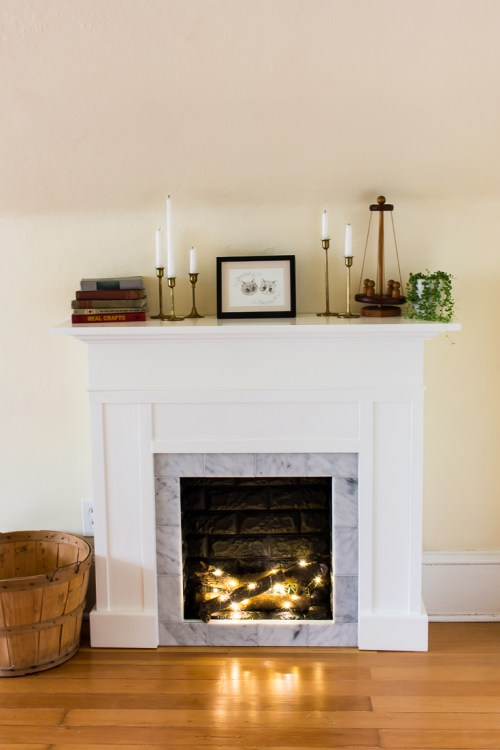 How I built my own DIY removable faux fireplace with real tile and faux brick
