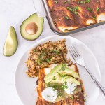 These vegan enchiladas are loaded with vegetables like beans, broccoli, peppers, and spinach, for a truly plant-based meal.
