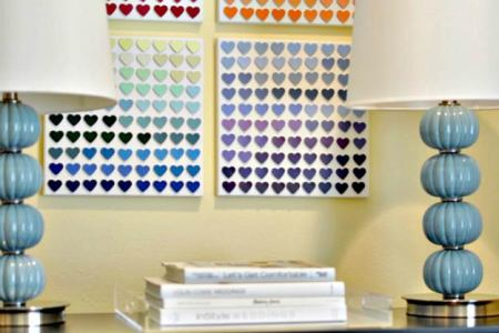 paint chip heart art teen room decor