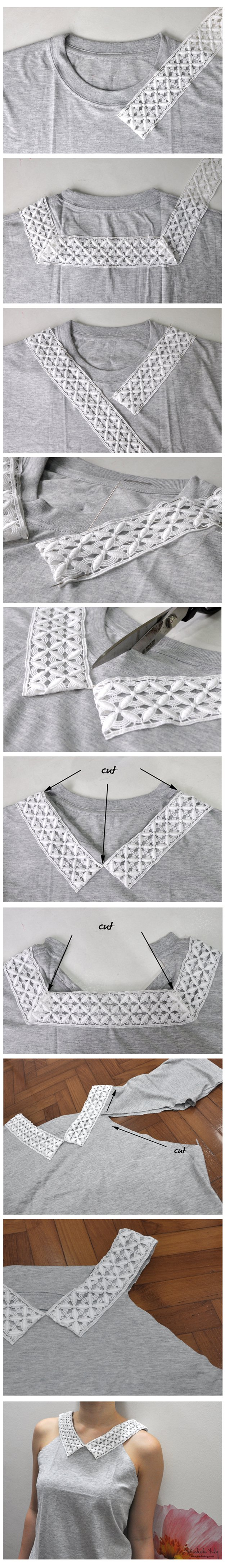 Easy Top DIY Tutorial from T Shirt | diyready.com/diy-clothes-sewing-blouses-tutorial/