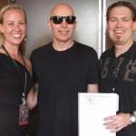 My wife and I meeting Joe Satriani in 2013