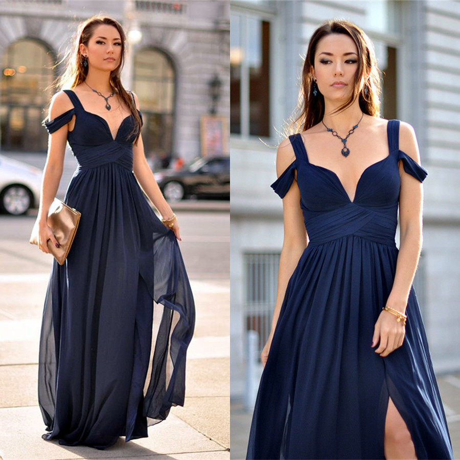 Showy Side Cheap Homecoming Dresses Under 100 Dollars Cocktail Dresses Under 100 Australia 2017 Prom Navy Blue Long Prom Dress Side Cheap Prom Dress 2017 Prom Navy Blue Long Prom Dress wedding dress Formal Dresses Under 100