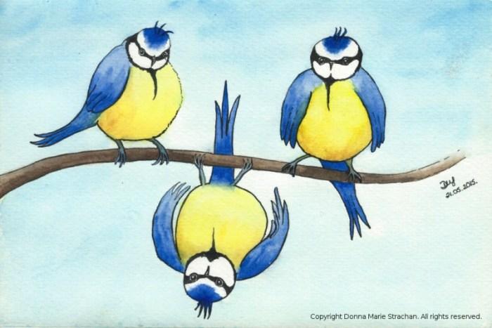 Three little birds cartoon
