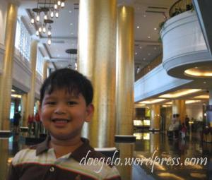 My 4-year-old son Gabby at the lobby of Dusit Thani Hotel, Makati