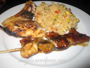 Tina's plate of some grilled tuna & skewers with jap rice