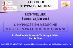 Colloque hypnose médicale Faculté de médecine Montpellier 23 juin 2018