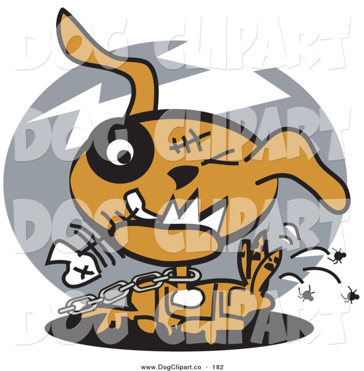 Dog Eating Clipart Vector Clip Art of a Neglected Brown Dog on a Chain Eating Fishbones And