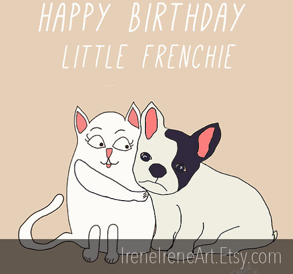 Frenchie custom illustrated gift card