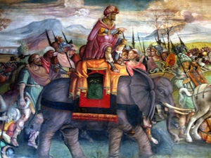 Hannibal crossing the Alps with war elephants.