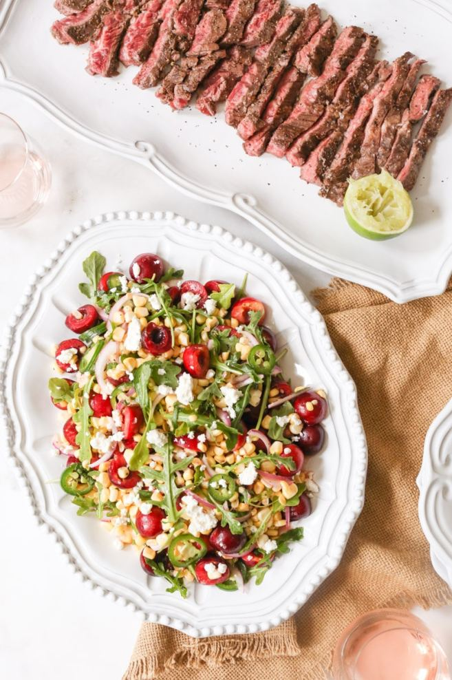 Marinated Skirt Steak with Sweet Corn and Cherry Salad- Domesticate ME ...