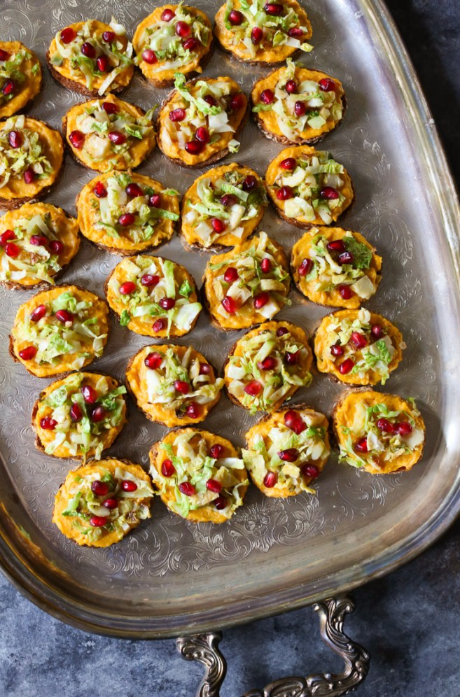 ... Squash Crostini with Brussels Sprouts and Pomegranate- Domesticate ME
