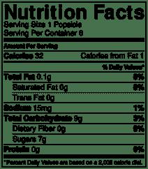 mango pop nutrition info