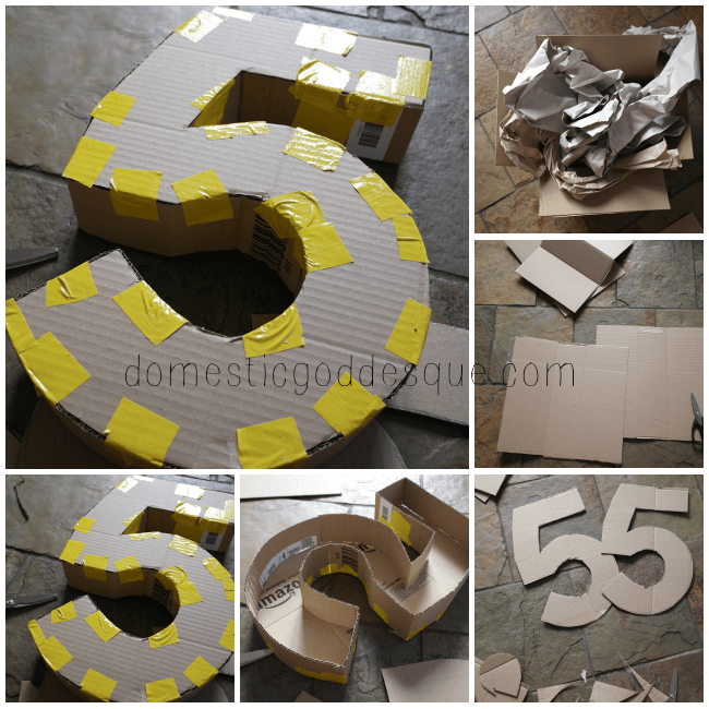how to make a number 5 from a cardboard box