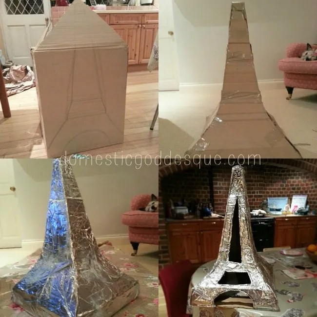 Make an Eiffel Tower from a cardboard box