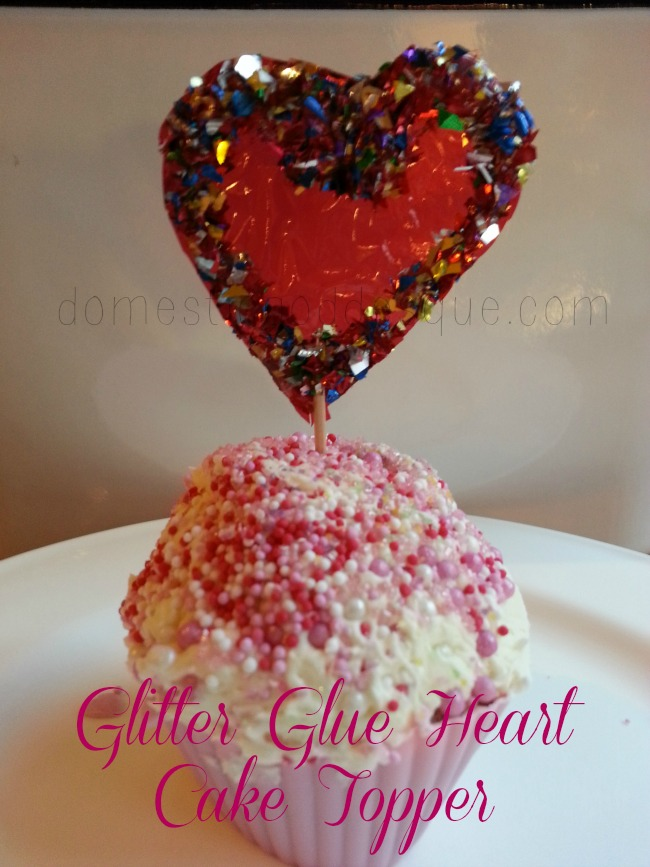 glitter glue heart cake topper