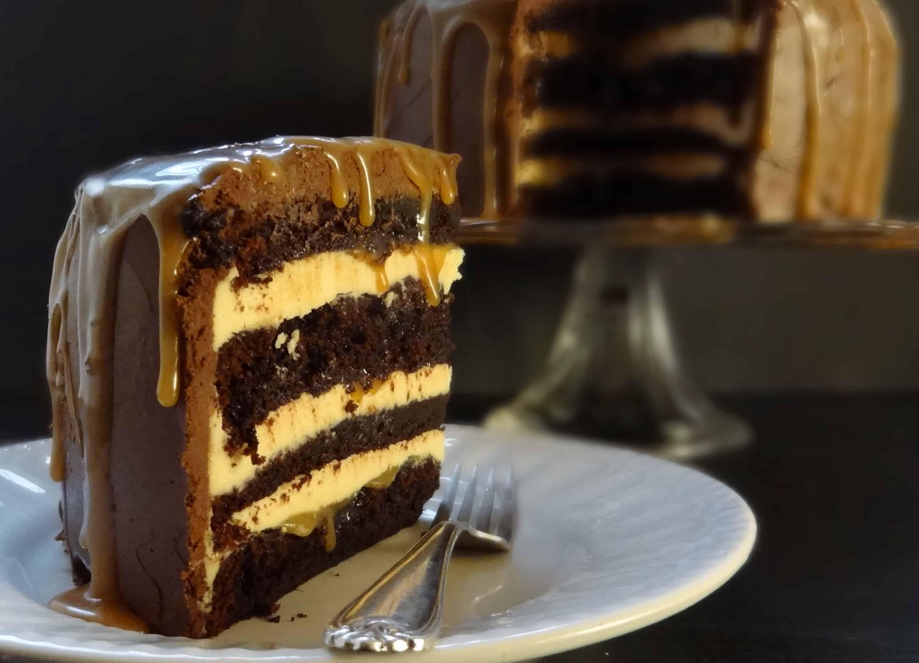 Dark Chocolate Salted Caramel Layer Cake