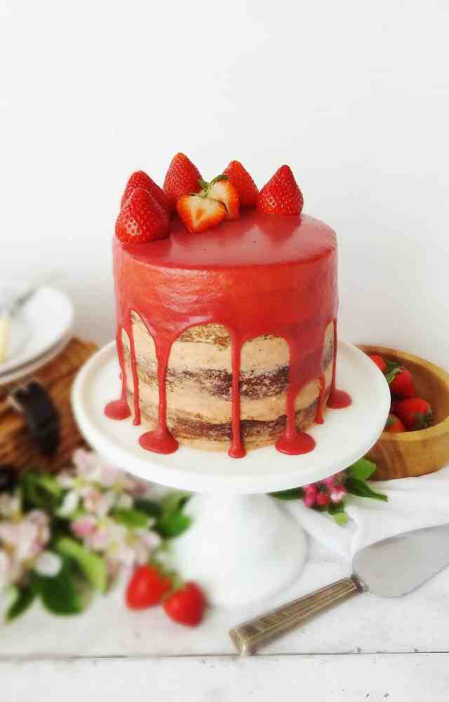 strawberry, elderflower & almond layer cake with strawberry, white chocolate & elderflower ganache