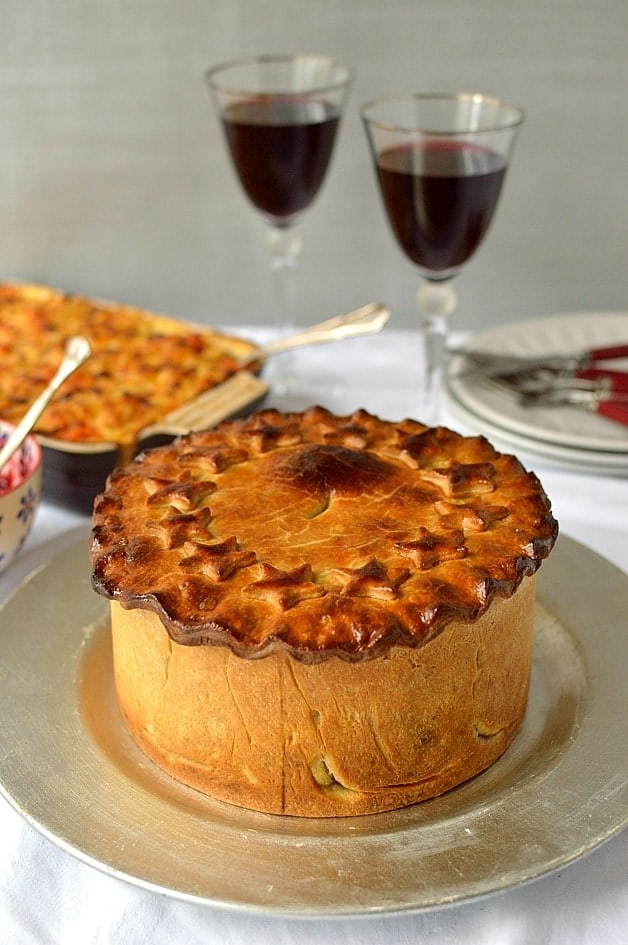 Impressive nut roast pie with vegetarian hot water crust pastry, the perfect vegetarian Christmas option - Domestic Gothess