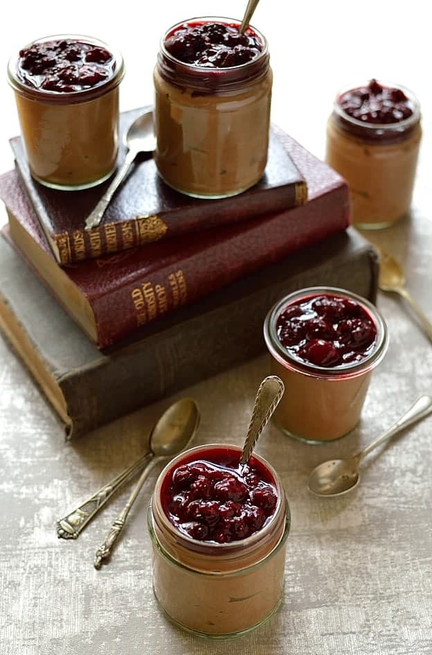 Lighter chocolate mousse made with 0% fat Greek yoghurt served with berry compote; still delicious & chocolatey, but better for you