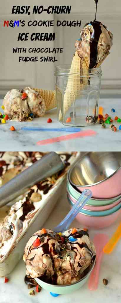 Easy, no-churn, three ingredient vanilla ice cream with M&M's cookie dough pieces and chocolate fudge swirl