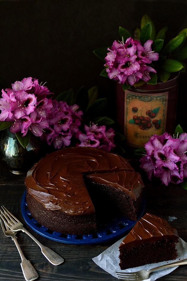 Moist chocolate stout cake with stout ganache