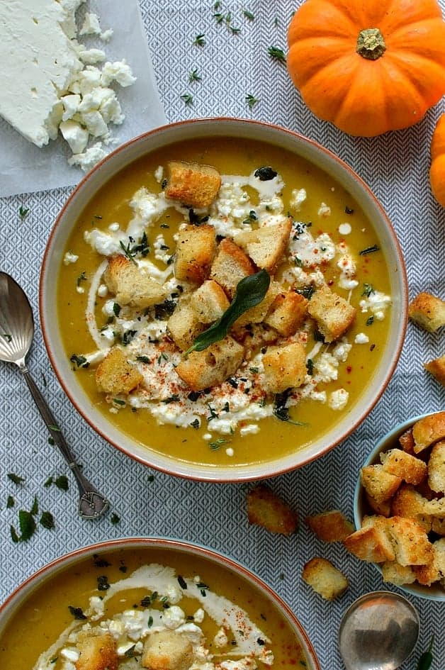 Spiced roast pumpkin soup with garlic croutons, feta cheese and crispy fried sage
