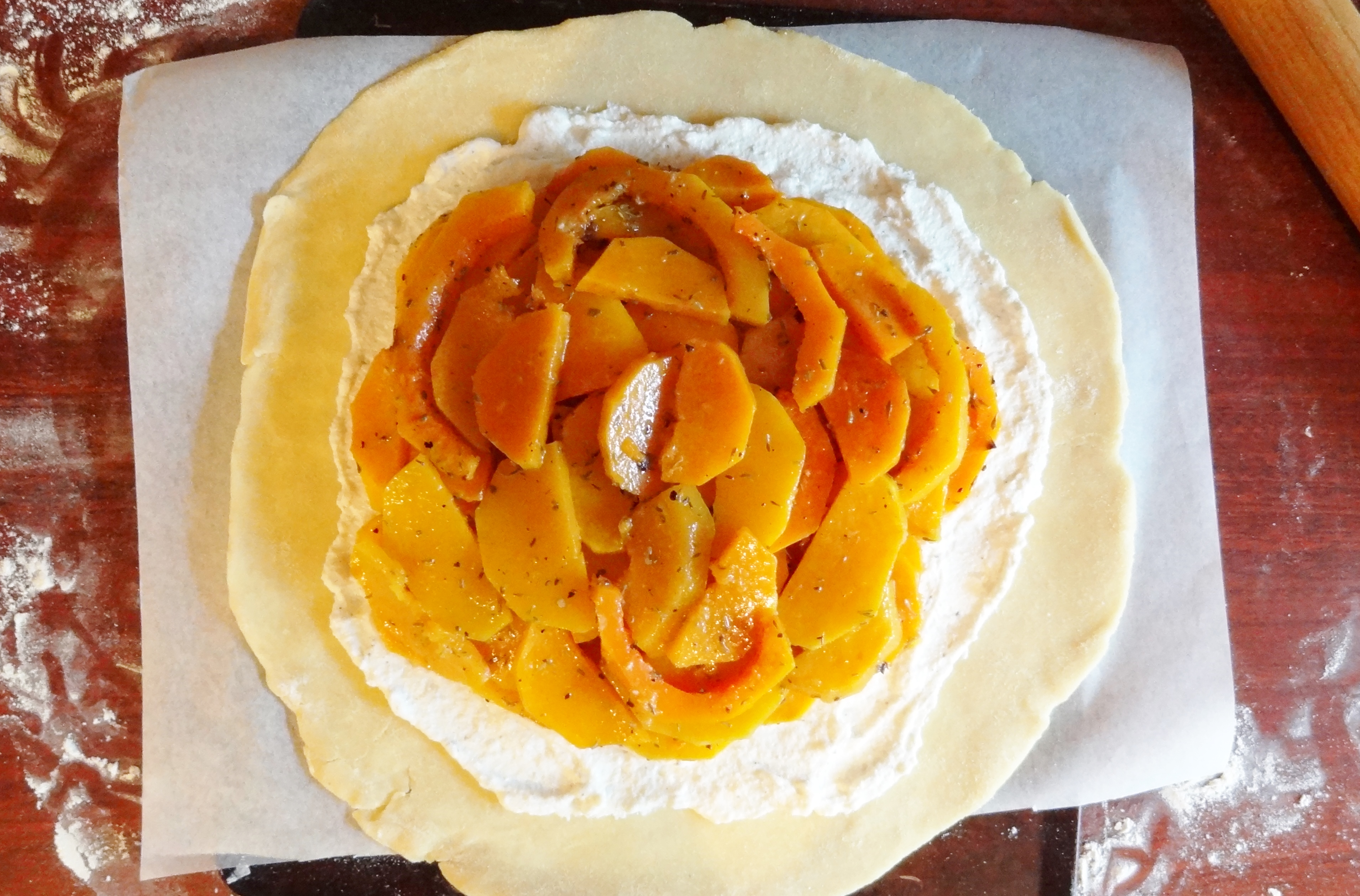 Roasted Butternut Squash and Garlic Galette - Domestic Gothess