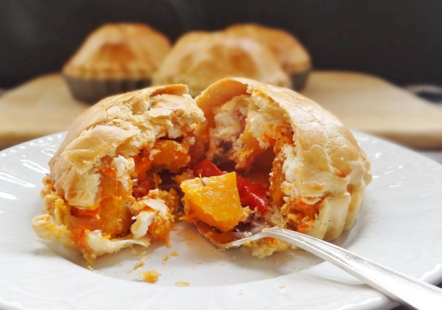 butternut squash, red pepper goats cheese pies