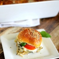 Caprese Sliders with Baked Tomato, Mozzarella, Basil Leaves & Pesto