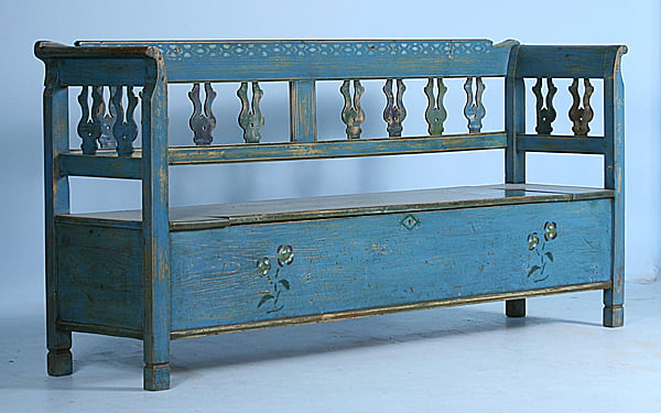 Original-Hand-Painted-Blue-Romanian-Bench-Circa-1880