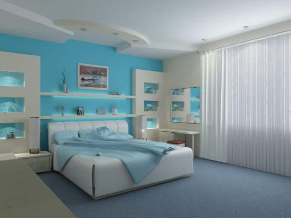 Bright Teal Blue Bedroom-Stylist
