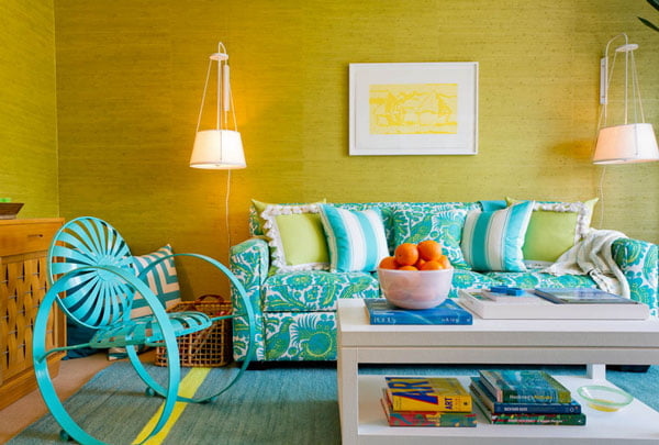 Yellow and Blue Color Combination Idea Applied in Modern Living Space Finished in Small Design Ideas with Unique Lamps Design Plans